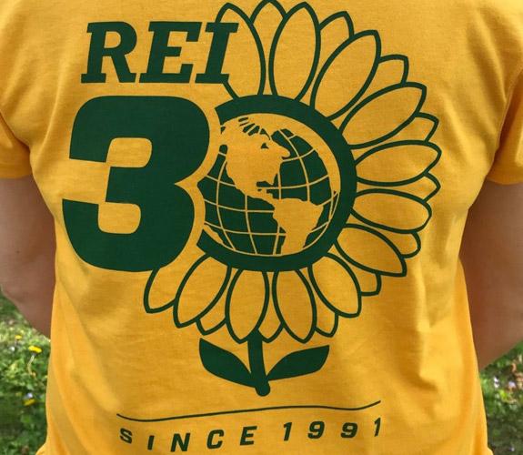 REI 30th sunflower shirt